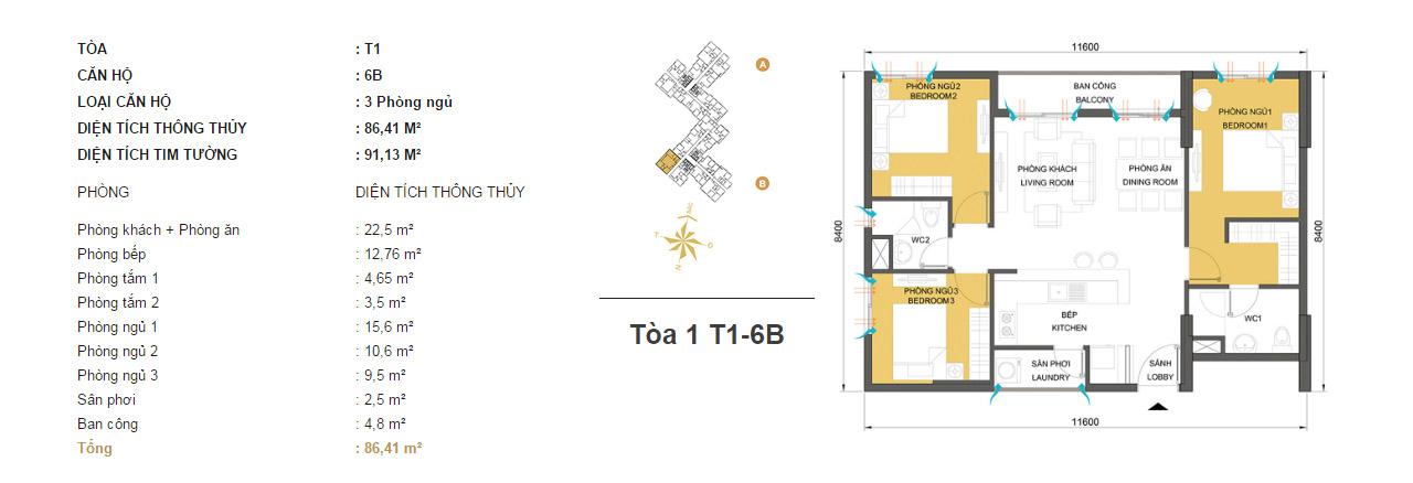 Mặt bằng chung cư Masteri Thảo Điền T1-6B 86m2 : căn hộ 2 phòng ngủ ( 91.13m2)