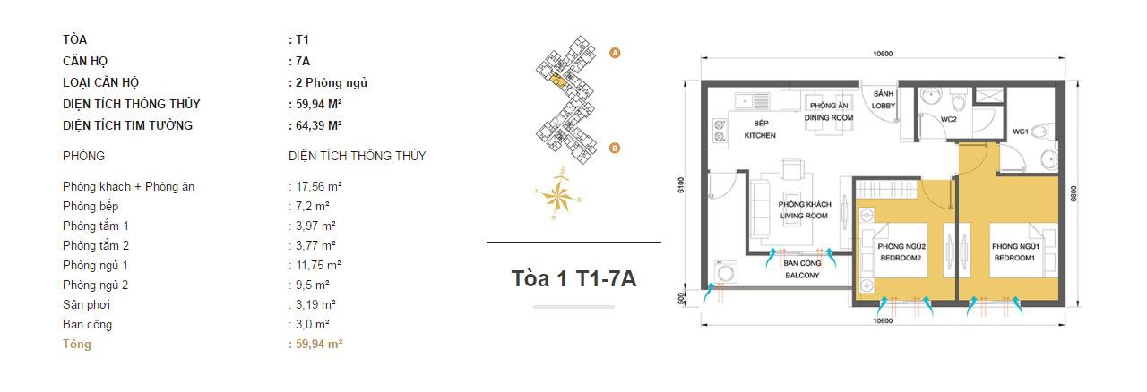 Mặt bằng chung cư Masteri Thảo Điền T1-7A 59m2 : căn hộ 2 phòng ngủ ( 64.39m2)