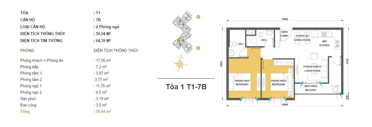 Mặt bằng chung cư Masteri Thảo Điền T1-7B 59m2 : căn hộ 2 phòng ngủ ( 64.39m2)