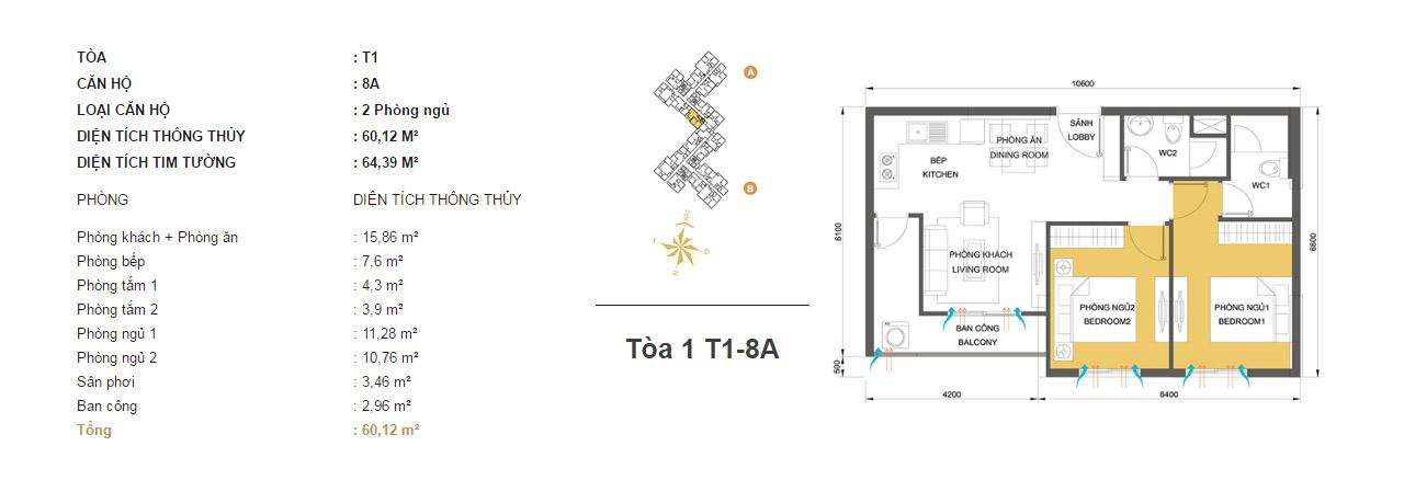 Mặt bằng chung cư Masteri Thảo Điền T1-8A 60m2 : căn hộ 2 phòng ngủ ( 64.39m2)