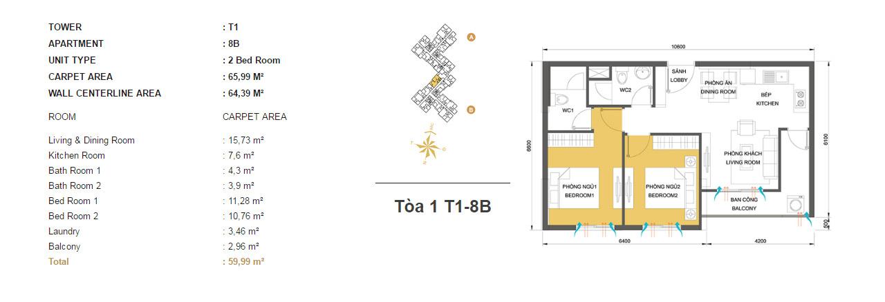 Mặt bằng chung cư Masteri Thảo Điền T1-8B 65m2 : căn hộ 2 phòng ngủ ( 64.39m2)