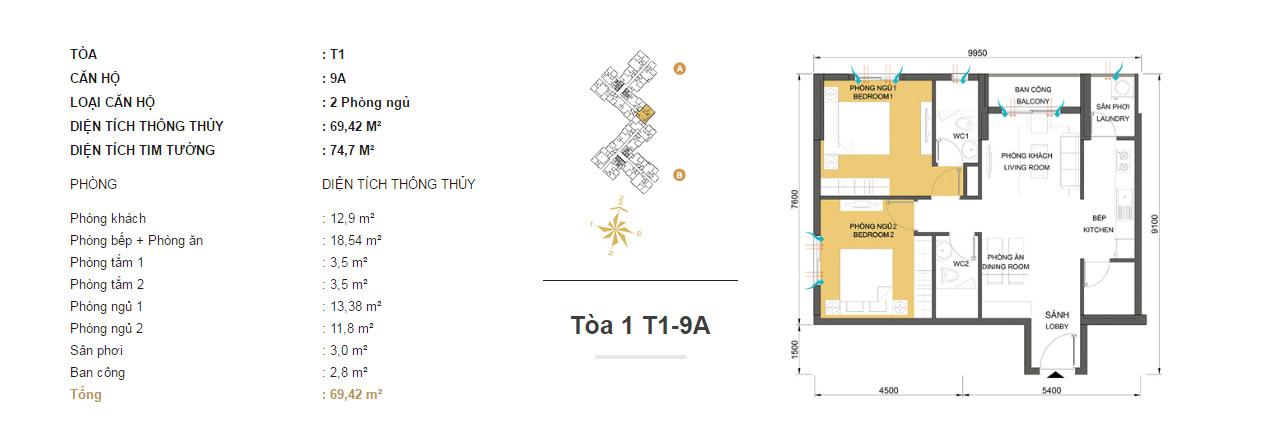 Mặt bằng chung cư Masteri Thảo Điền T1-9A 69m2 : căn hộ 2 phòng ngủ ( 74.7m2)