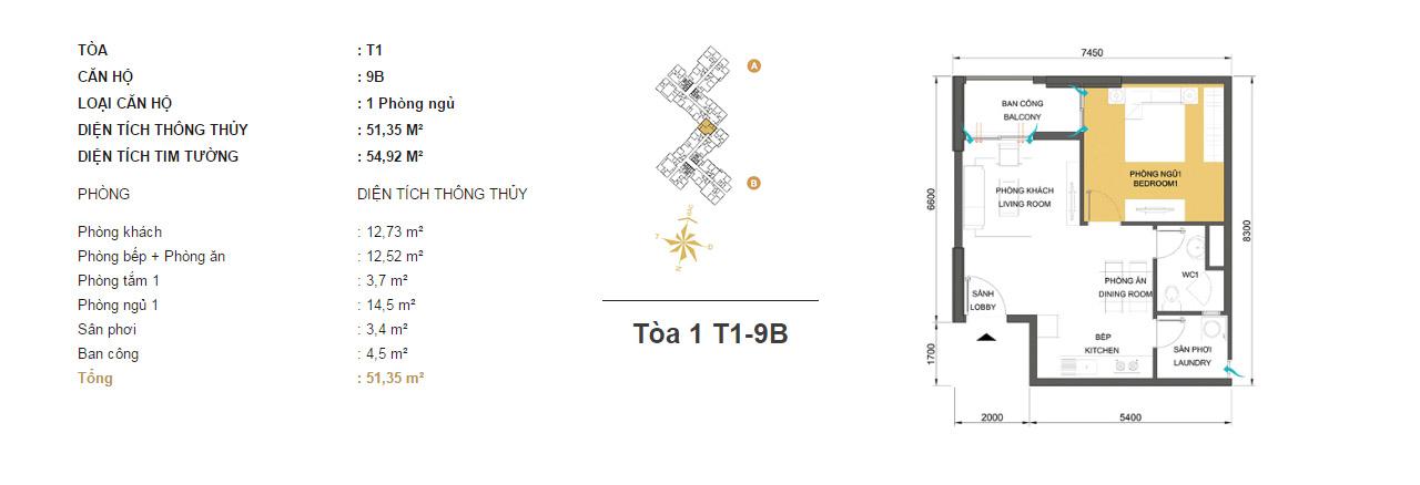 Mặt bằng chung cư Masteri Thảo Điền T1-9B 51m2 : căn hộ 2 phòng ngủ ( 54.92m2)