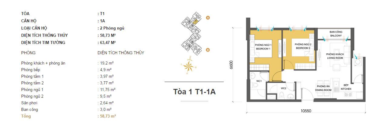 Mặt bằng căn hộ chung cư Masteri Thảo Điền T1-A1 58m2 : căn hộ 2 phòng ngủ ( 63.47m2)