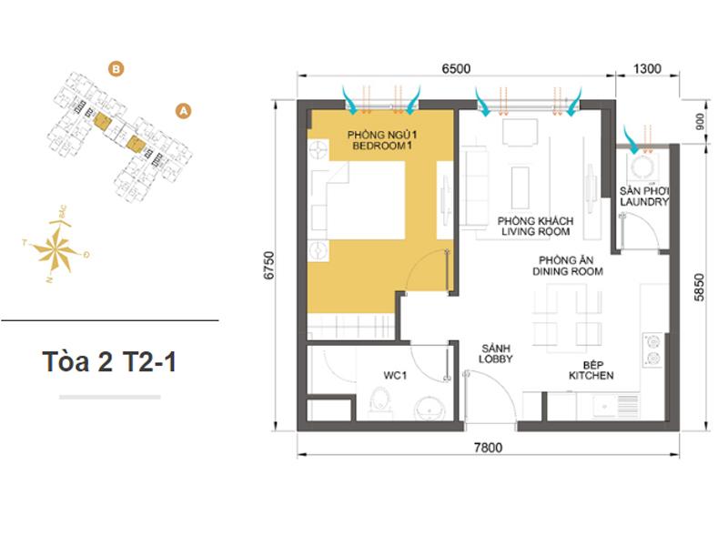 Mặt bằng căn hộ chung cư Masteri Thảo Điền Tòa 2 T2-1 45m2 : căn hộ 1 phòng ngủ ( 48.17m2)