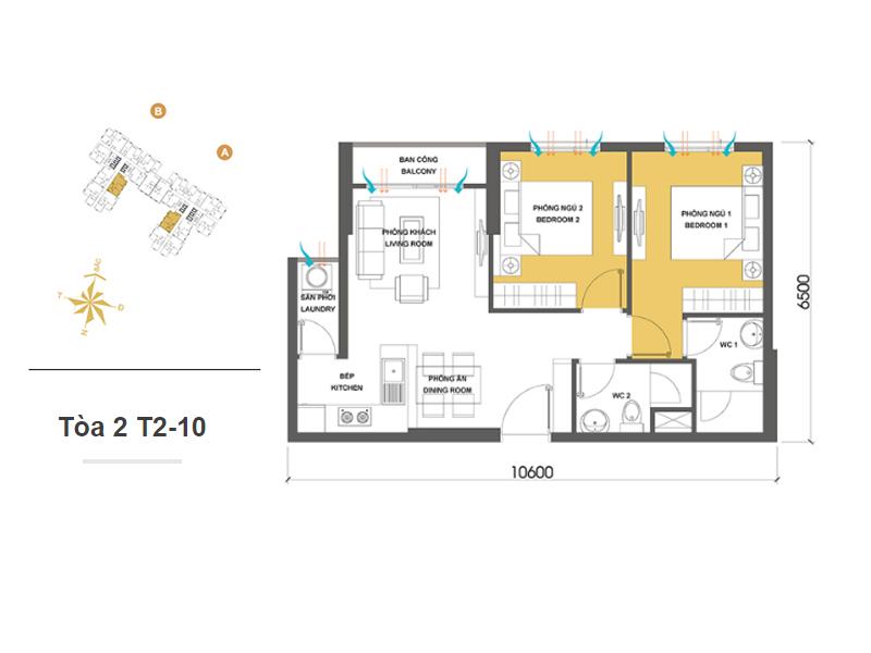 Mặt bằng căn hộ chung cư Masteri Thảo Điền Tòa 2 T2-10 57m2 : căn hộ 2 phòng ngủ ( 62.14m2)