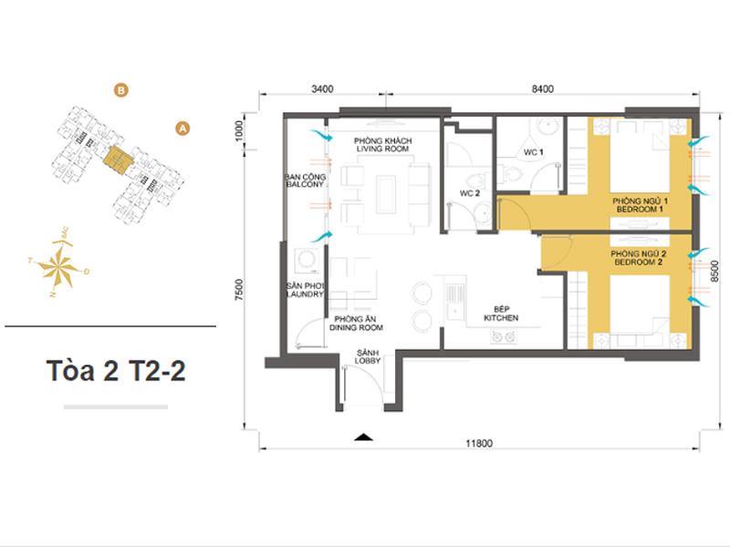 Mặt bằng căn hộ chung cư Masteri Thảo Điền Tòa 2 T2-2 69m2 : căn hộ 2 phòng ngủ ( 73.29m2)