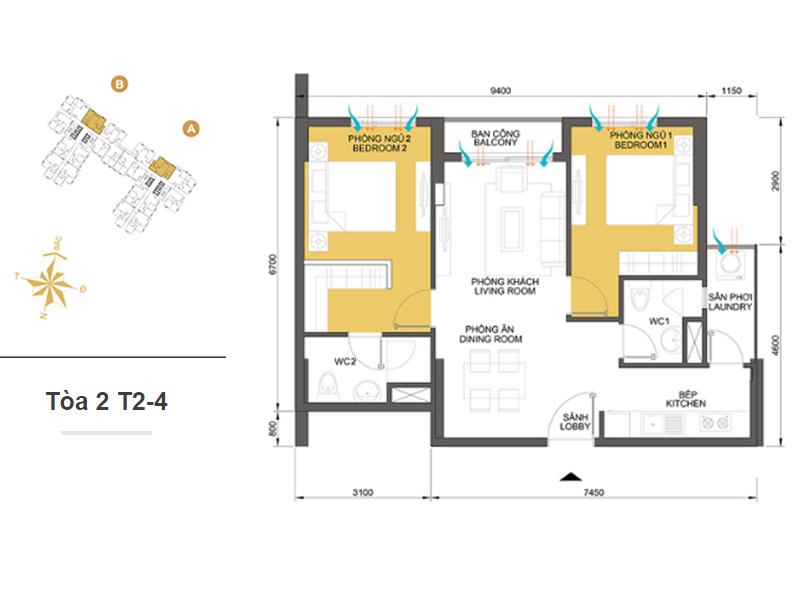 Mặt bằng căn hộ chung cư Masteri Thảo Điền Tòa 2 T2-3 63m2 : căn hộ 2 phòng ngủ ( 68.76m2)