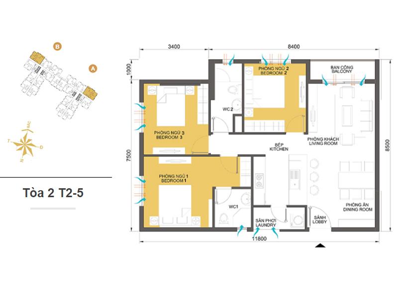 Mặt bằng căn hộ chung cư Masteri Thảo Điền Tòa 2 T2-5 87m2 : căn hộ 3 phòng ngủ ( 92.92m2)
