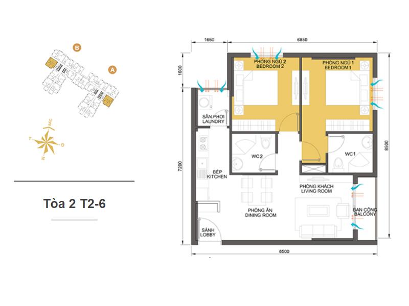 Mặt bằng căn hộ chung cư Masteri Thảo Điền Tòa 2 T2-6 64m2 : căn hộ 2 phòng ngủ ( 68.66m2)