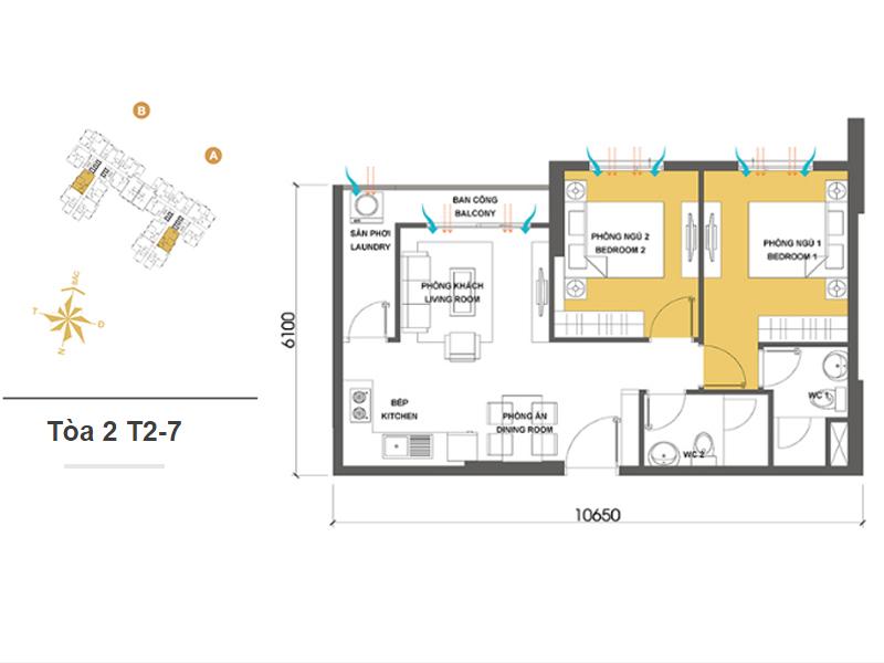 Mặt bằng căn hộ chung cư Masteri Thảo Điền Tòa 2 T2-7 59m2 : căn hộ 2 phòng ngủ ( 64.04m2)