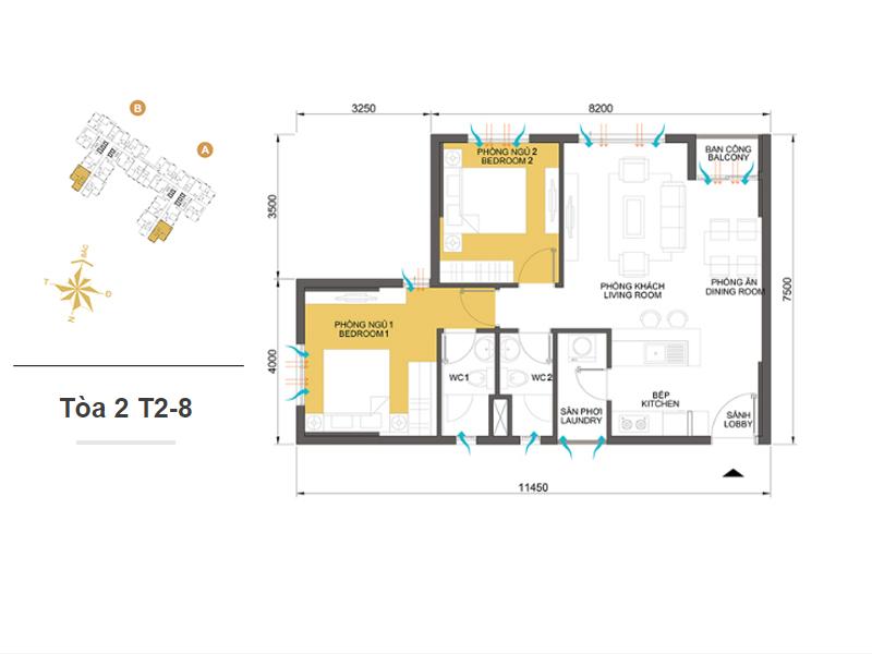 Mặt bằng căn hộ chung cư Masteri Thảo Điền Tòa 2 T2-8 65m2 : căn hộ 2 phòng ngủ ( 70.7m2)