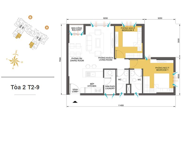 Mặt bằng căn hộ chung cư Masteri Thảo Điền Tòa 2 T2-9 65m2 : căn hộ 2 phòng ngủ ( 70.45m2)
