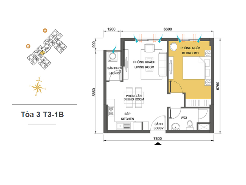 Mặt bằng căn hộ chung cư Masteri Thảo Điền Tòa 3 T3-1B 45m2 : căn hộ 1 phòng ngủ ( 48.81m2)