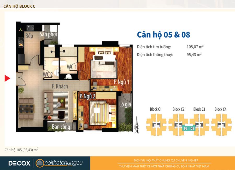 Mặt bằng căn hộ chung cư Him Lam Chợ Lớn Block C 105m2 : căn hộ 05,08 - 2 phòng ngủ ( 95.43m2)