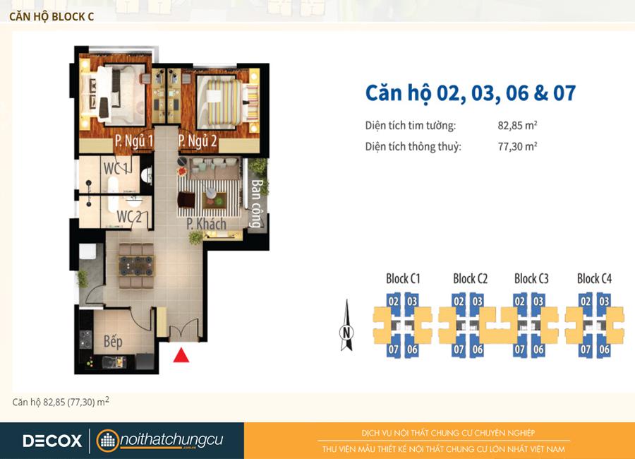 Mặt bằng căn hộ chung cư Him Lam Chợ Lớn Block C 82m2 : căn hộ 02, 03, 06, 07 - 2 phòng ngủ ( 77.30m2)