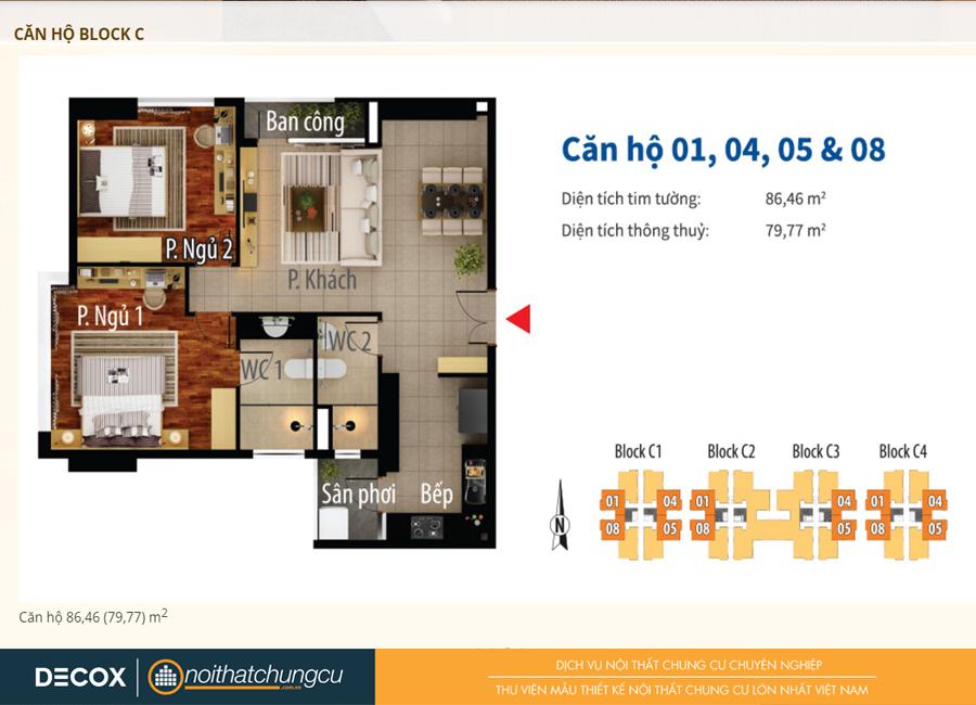 Mặt bằng căn hộ chung cư Him Lam Chợ Lớn Block C 86m2 : căn hộ 01, 04,05,08 - 2 phòng ngủ ( 79.77m2)