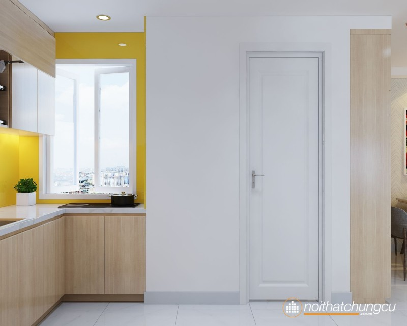 Mẫu thiết kế nội thất chung cư 56m2 hiện đại, tiện nghi