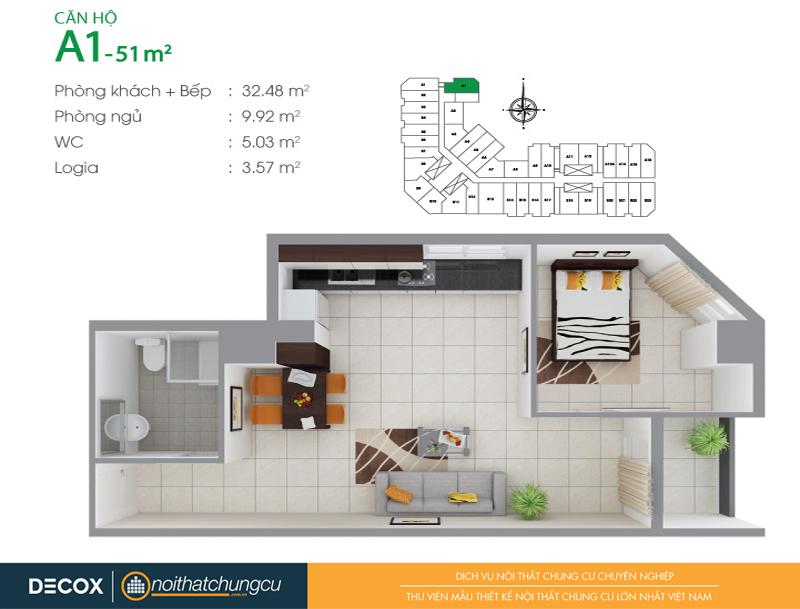Mặt bằng căn hộ chung cư 8X Đầm Sen 51m2 : căn hộ A1 1 phòng ngủ.