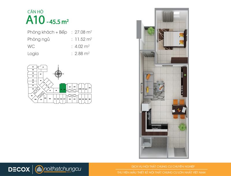 Mặt bằng căn hộ chung cư 8X Đầm Sen 45m2 : căn hộ A10 1 phòng ngủ.