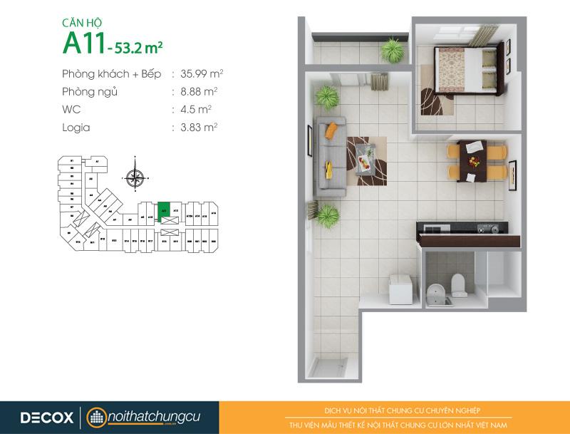 Mặt bằng căn hộ chung cư 8X Đầm Sen 53m2 : căn hộ A11 1 phòng ngủ.