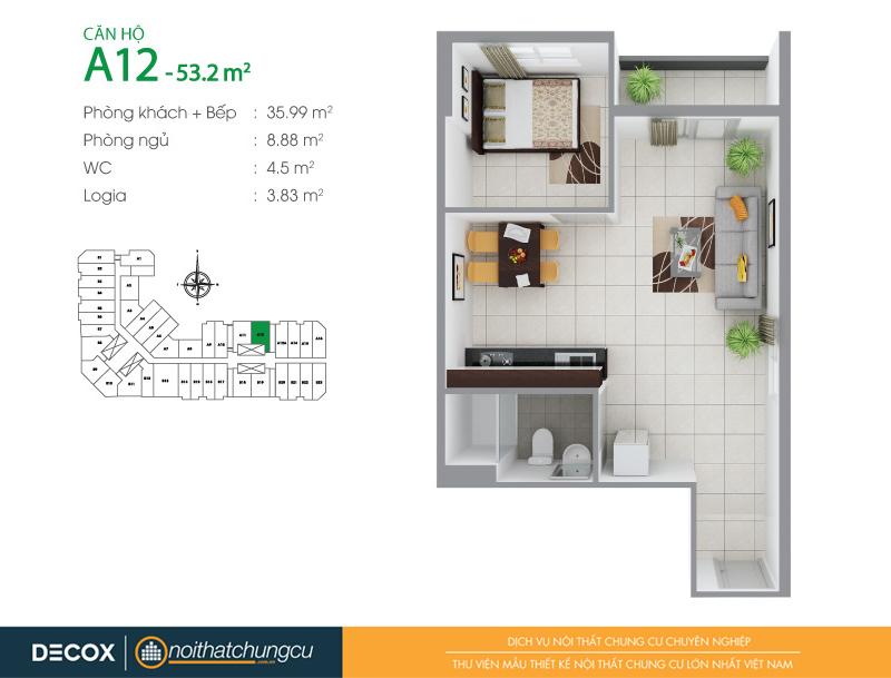 Mặt bằng căn hộ chung cư 8X Đầm Sen 53m2 : căn hộ A12 1 phòng ngủ.