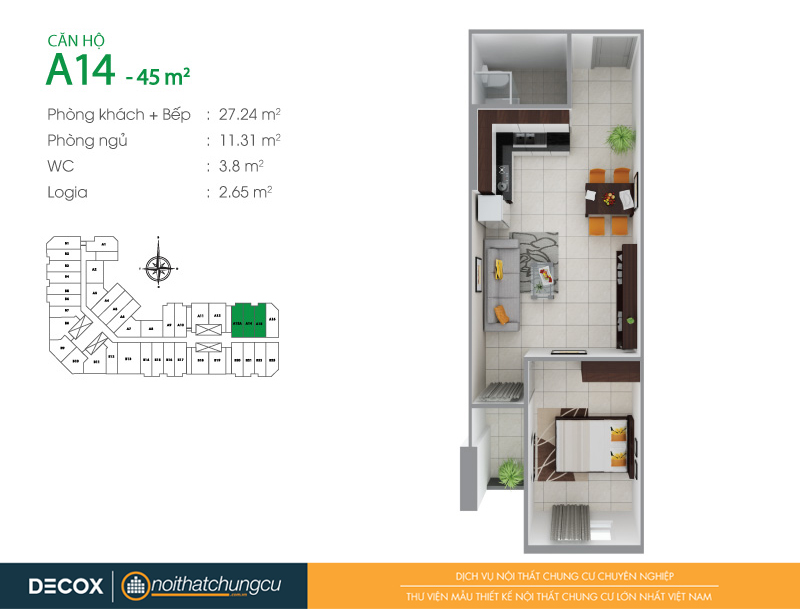 Mặt bằng căn hộ chung cư 8X Đầm Sen 45m2 : căn hộ A14 1 phòng ngủ.