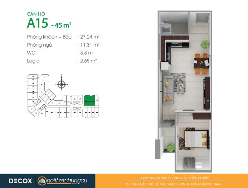 Mặt bằng căn hộ chung cư 8X Đầm Sen 45m2 : căn hộ A15 1 phòng ngủ.