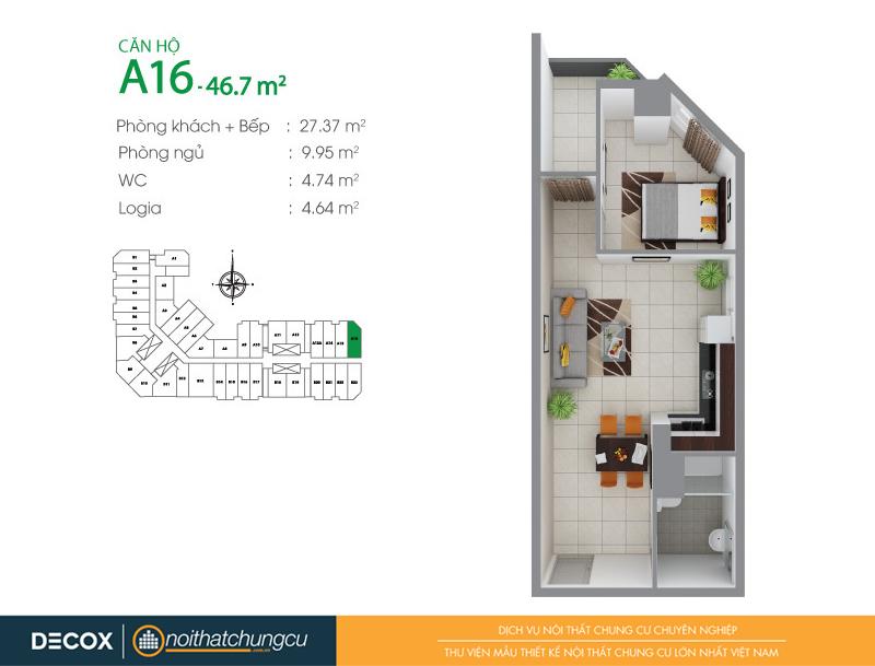 Mặt bằng căn hộ chung cư 8X Đầm Sen 46m2 : căn hộ A16 1 phòng ngủ.