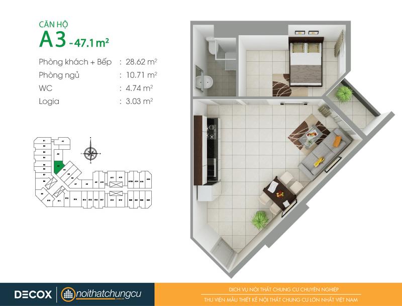 Mặt bằng căn hộ chung cư 8X Đầm Sen 47m2 : căn hộ A3 1 phòng ngủ.