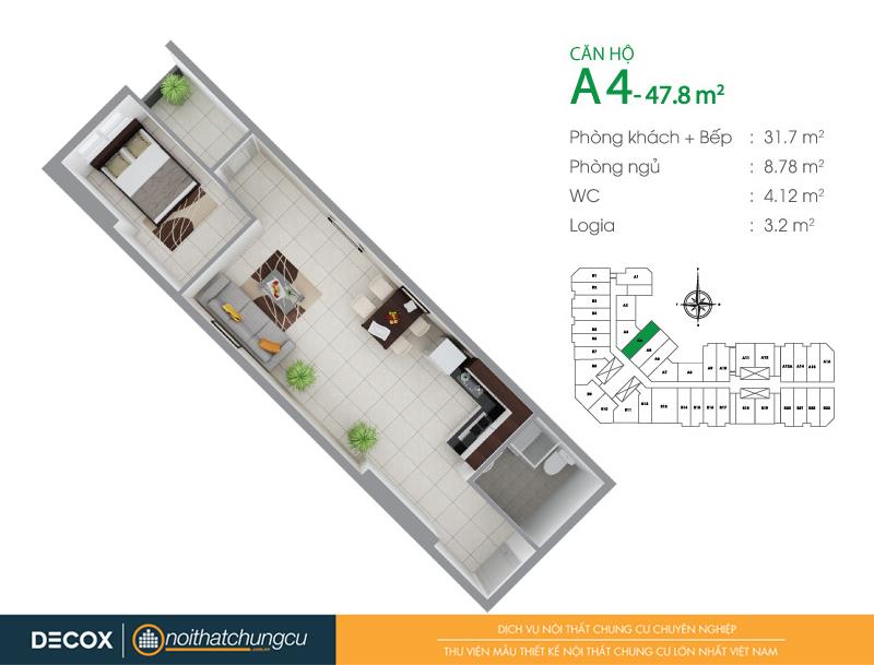 Mặt bằng căn hộ chung cư 8X Đầm Sen 47m2 : căn hộ A4 1 phòng ngủ.
