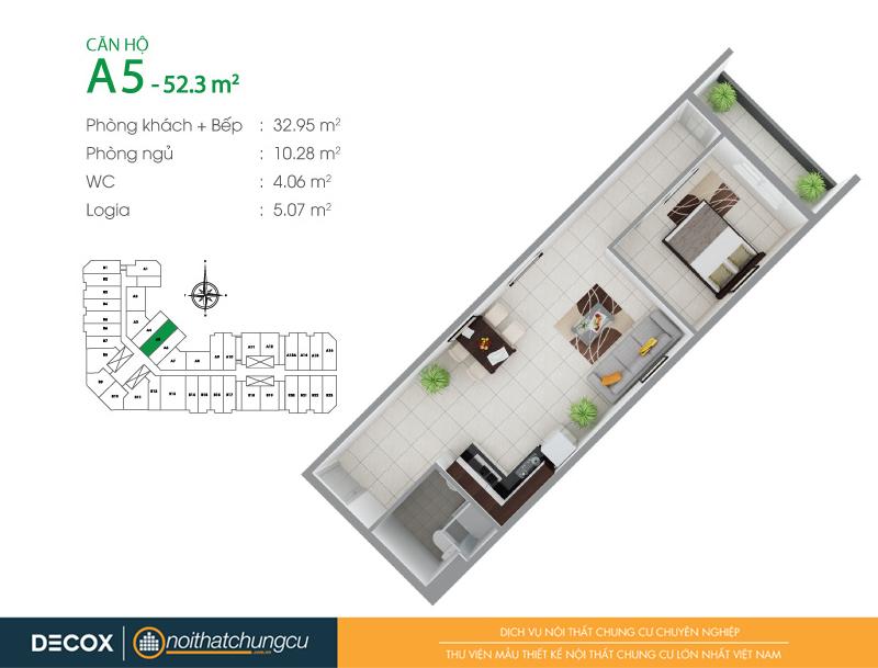 Mặt bằng căn hộ chung cư 8X Đầm Sen 52m2 : căn hộ A5 1 phòng ngủ.