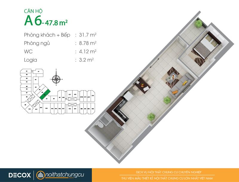 Mặt bằng căn hộ chung cư 8X Đầm Sen 47m2 : căn hộ A6 1 phòng ngủ.