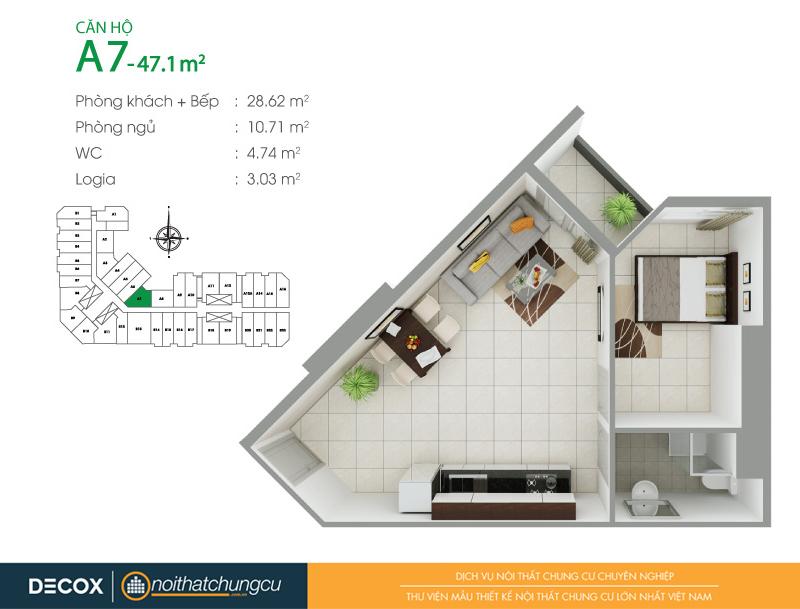 Mặt bằng căn hộ chung cư 8X Đầm Sen 47m2 : căn hộ A7 1 phòng ngủ.