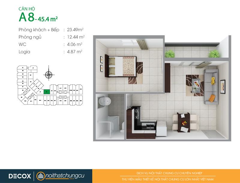 Mặt bằng căn hộ chung cư 8X Đầm Sen 45m2 : căn hộ A8 1 phòng ngủ.