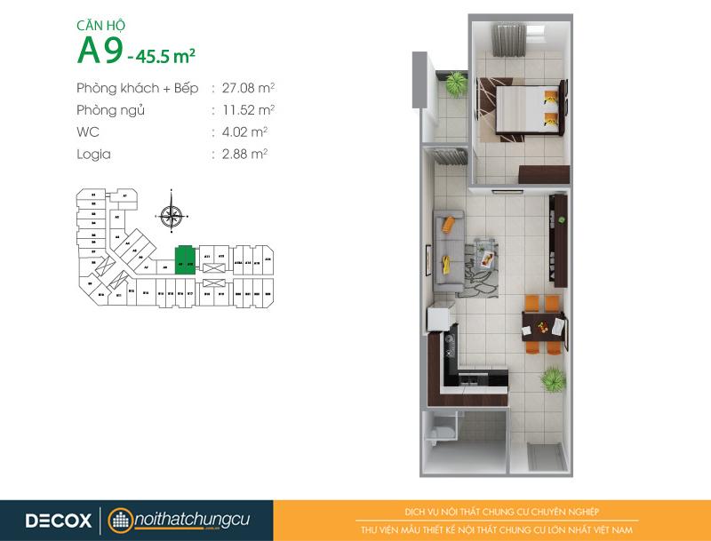 Mặt bằng căn hộ chung cư 8X Đầm Sen 45m2 : căn hộ A9 1 phòng ngủ.