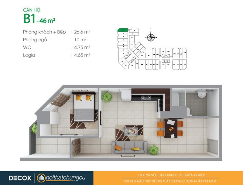 Mặt bằng căn hộ chung cư 8X Đầm Sen 46m2 : căn hộ B1 1 phòng ngủ.