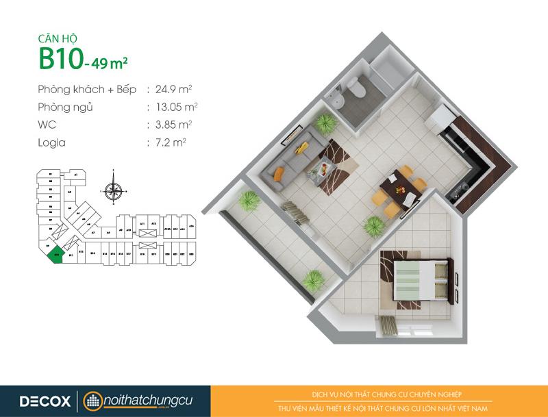 Mặt bằng căn hộ chung cư 8X Đầm Sen 49m2 : căn hộ B10 1 phòng ngủ.