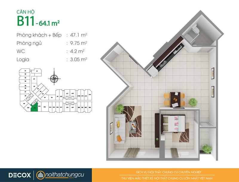 Mặt bằng căn hộ chung cư 8X Đầm Sen 64m2 : căn hộ B11 1 phòng ngủ.