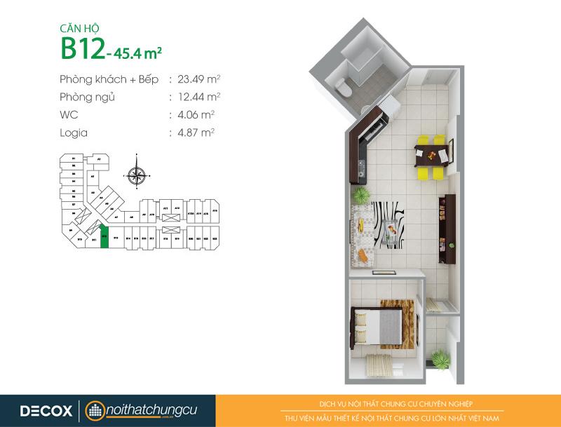 Mặt bằng căn hộ chung cư 8X Đầm Sen 45m2 : căn hộ B12 1 phòng ngủ.