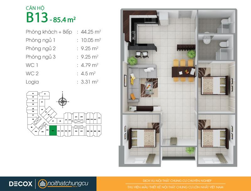 Mặt bằng căn hộ chung cư 8X Đầm Sen 85m2 : căn hộ B13 2 phòng ngủ.