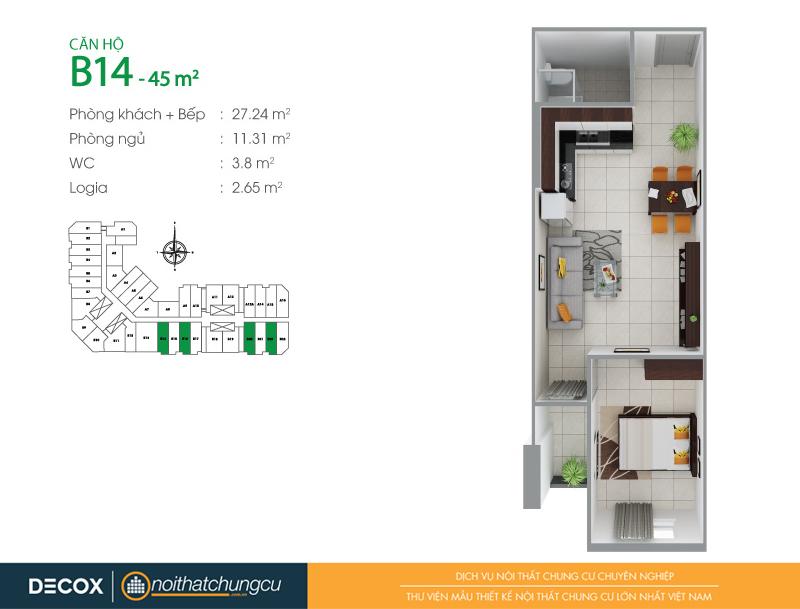 Mặt bằng căn hộ chung cư 8X Đầm Sen 45m2 : căn hộ B14 1 phòng ngủ.