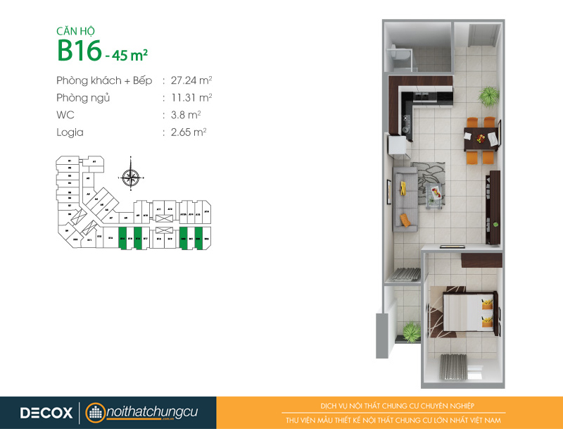 Mặt bằng căn hộ chung cư 8X Đầm Sen 45m2 : căn hộ B16 1 phòng ngủ.