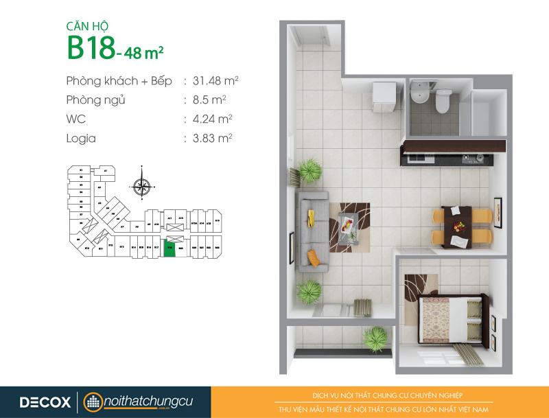 Mặt bằng căn hộ chung cư 8X Đầm Sen 48m2 : căn hộ B18 1 phòng ngủ.