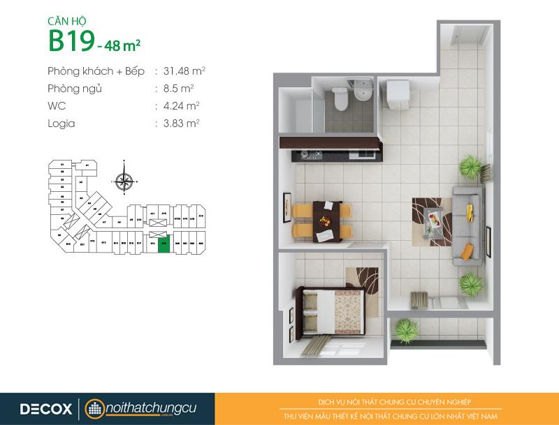 Mặt bằng căn hộ chung cư 8X Đầm Sen 48m2 : căn hộ B19 1 phòng ngủ.