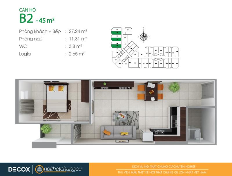 Mặt bằng căn hộ chung cư 8X Đầm Sen 45m2 : căn hộ B2 1 phòng ngủ.