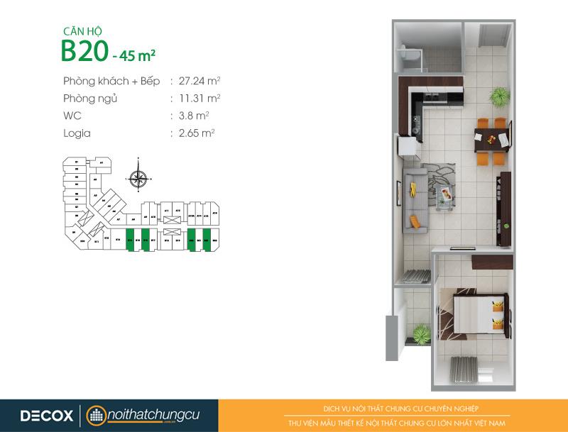 Mặt bằng căn hộ chung cư 8X Đầm Sen 45m2 : căn hộ B20 1 phòng ngủ.
