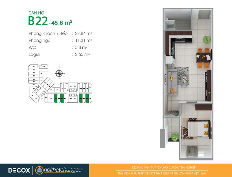 Mặt bằng căn hộ chung cư 8X Đầm Sen 45m2 : căn hộ B22 1 phòng ngủ.