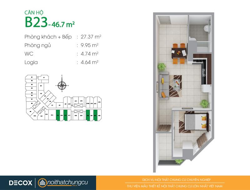 Mặt bằng căn hộ chung cư 8X Đầm Sen 46m2 : căn hộ B23 1 phòng ngủ.