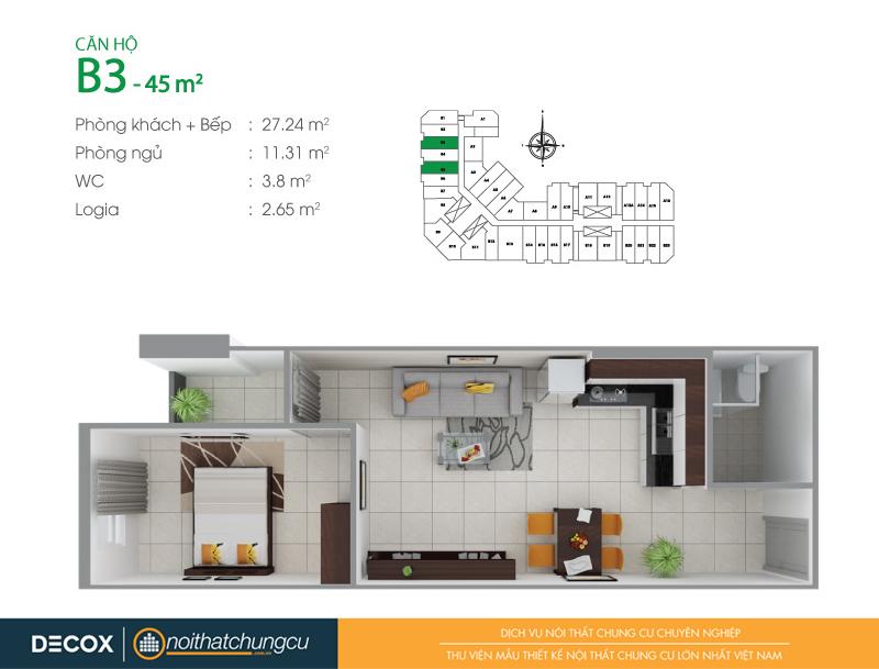 Mặt bằng căn hộ chung cư 8X Đầm Sen 45m2 : căn hộ B3 1 phòng ngủ.